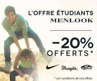 - 20% pour les étudiants sur le site Menlook.com